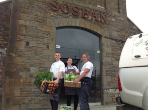 Steve with Ian and Sian with their daily fresh delivery